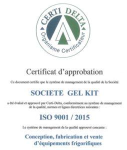 conception d'équipement frigorifique ISO 9001 2015
